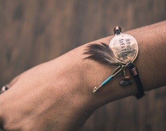HONOR TREATIES     I Stand With Standing Rock Bracelet  with Feather, Arrow and Beads