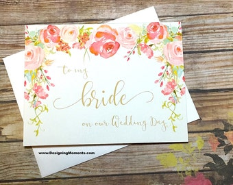 Vintage To My Bride on Our Wedding Day Card, Bride and Groom Card, for my Wife, Handmade Bride Groom Wedding Day Card, Wedding Thank You