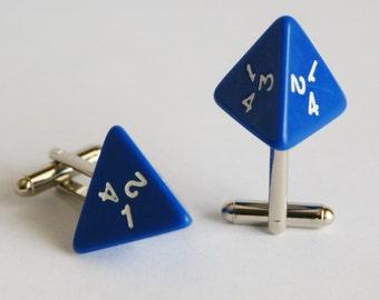 Blue 4 Sided Dice Cufflinks d4 Free gift bag