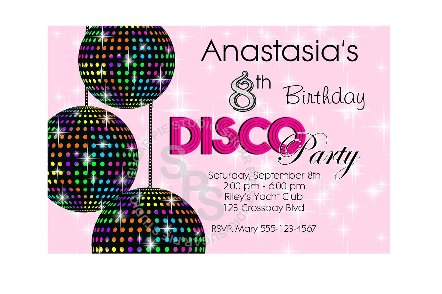 Disco Ball Dance 70s Party your photo girl boy Birthday party