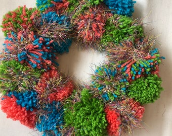 Bright Coloured Pom Pom Wreath