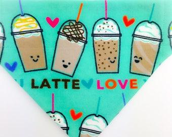 "Flannel Over the collar (slide on)  Pet Bandana - Size MED/LARGE - ""Love You A Latte""  pet bandana"