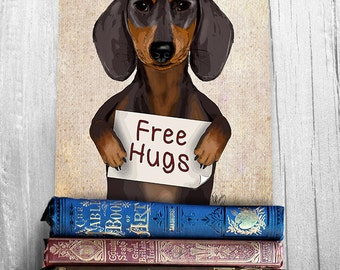 Dachshund art print - Free Hugs  dachshund gift doxie dachshund wall art Dachshund print art for kids room Office décor funny animal dog art