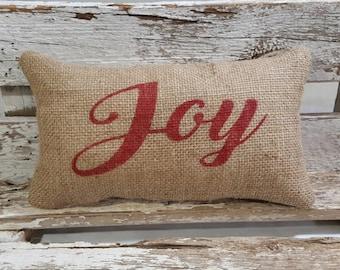 """Burlap Joy 11"""" x 6"""" Stuffed Pillow Christmas Holiday Joy Burlap Pillow"""