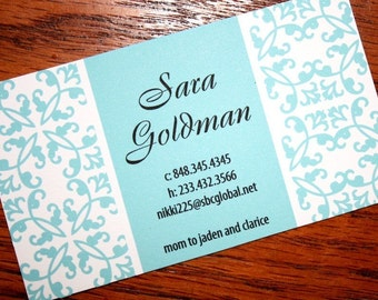 Calling Cards, Business Cards, Damask Blue Calling Cards, Mommy Cards, Social Cards - set of 50