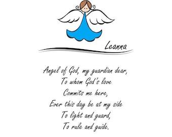 Angel of God Prayer Print, Nursery Wall Art, Child's Room Decor, Angel of God Prayer Artwork, Angel of God Print, Guardian Angel Print