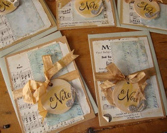 Sheet music notecards Blank inside stitched greeting card vintage style kraft paper cards