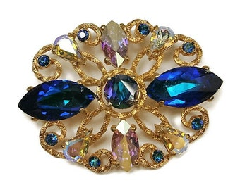 Vintage  Schiaparelli  Brooch / Blue and Clear AB Rhinestones / 1950's  / Blue aqnd Gold Brooch / Signed Pin