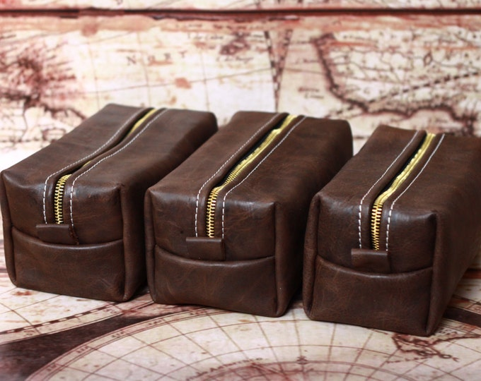 HANDMADE Men's Leather Toiletry Case Dopp Kit Shaving Bag OOAK Groomsmen Present Groomsman Gift Wedding Groom FREE Shipping worldwide
