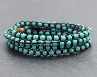 Turquoise 4 Times Wrap Unisex Bracelet Anklet