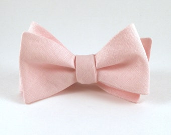 Pink Bow Tie, Light Pink Bowtie, Mens Bow Tie, Blush Wedding, Pink Bowtie - Traditional Self-Tie or Pre-Tied