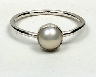 Sterling Silver Pearl Ring Small Pearl Stacking Stackable Ring June Birthstone Jewelry Size 6 Genuine Pearl Easter Gift for her Gift For Mom