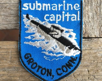 Submarine Capital Groton, Connecticut Vintage Souvenir Travel Patch from Voyager