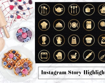 Instagram Story Highlights Icons, Kitchen Utensils Icons,  Gold Instagram Kitchen Icon, Gold Foil Instagram Stories, Cooking Icons, BUY5FOR8