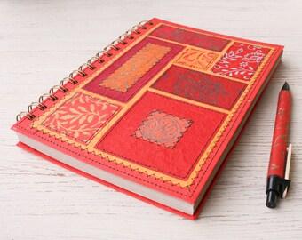Blank notebook red / recycled spiral notebook / eco friendly notebook / sketchbook / art journal / traveler's notebook / unlined notebook
