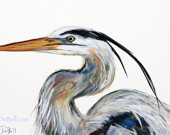"""HERON FEATHERS **  11"""" x17"""" Print of my Original great Blue Heron painting by New Orleans artist, Paige DeBell"""