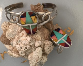 Zuni Style Sterling Ring and Cuff Bracelet Set