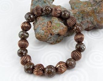 Michigan stone beadwork stretchy bracelet copper firebrick and copper B0226