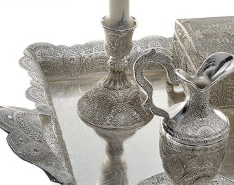 Candlestick oriental silver chic and traditional by 2 foot bottom
