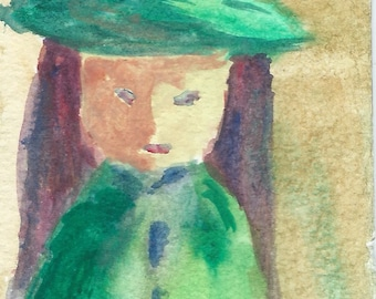 Original ACEO Watercolor Painting - Lady in Green