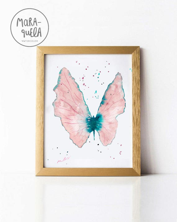 Light Pink BUTTERFLY Illustration Watercolor handmade.