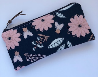 Zipper Pouch - Makeup Bag - Pencil Case - Navy Rose Gold Flowers Pouch  - Bags and Purses - Makeup Pouch - Purse Organzier - Gift for Her -