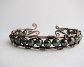 Copper Wire Wrapped Cuff Bracelet with Metallic Pyrite
