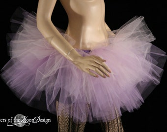 Layered tutu tulle skirt two tone pastel goth lolita lavender purple pink fairy dance club wear dream adult costume rave -You Choose Size