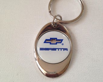 Chevrolet Beretta Keychain Chrome Plated Solid Metal Chevy Key Chain