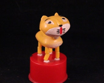 Vintage Plastic Yellow and Red Cat Spring Toy