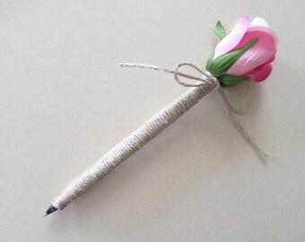 Guestbook Pen | Flower Pen | Wedding Guestbook Pen | Pink Rose Flower Pen Wrapped in Twine