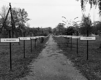 Chernobyl Print, Pripyat Print, Abandoned, Ukraine Print, Ukraine Photography, Ukraine Art, Graveyard, Memorial, Path, Grim, Tragedy, Grey