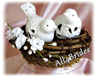 Rustic wedding cake topper, love birds cake topper, bird nest rustic or garden weddings cake topper