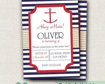 Nautical Birthday Invitation - Sailboat Invite - 1st Birthday - Anchor Invitation - Nautical Printable - Boy Birthday Party