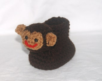Crochet Pattern 019 - Monkey Baby Booties - 3 Sizes