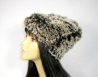 Brown and White Vegan Fur Hat Faux Fur Beanie Faux Fur Slouch Hat Womens Brown Hats Winter Hats Ski Slouch Beanies Winter Beanies Fur Beanie