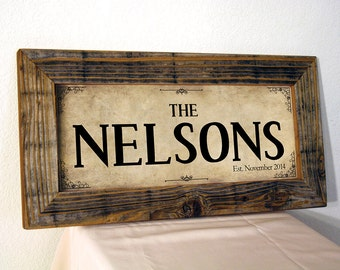 Custom Family Name Sign. Rustic Signs. Rustic Frame. Established Family Name Sign. Reclaimed  Wood Sign. Personalized Sign. 20x10