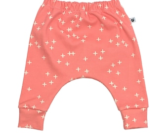 Baby harem pants, pink, wink, organic baby clothes, toddler clothes, gift for baby