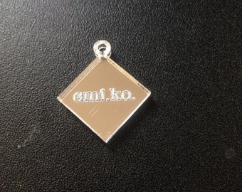 Custom Engraved Diamond (2) Jewelry Tag Lot of One Hundred (100) Mirror 25mm wide and 21mm tall