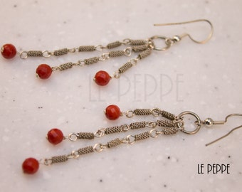 Earrings silver pendants with pearls coral