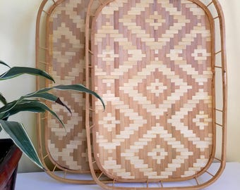 Vintage Bamboo Trays, Set of 2, Patterened