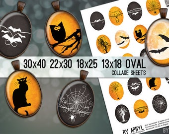 Digital Collage Sheet  30x40 22x30 18x25 13x18  Oval Halloween Images for Glass and Resin Pendants Cameos Paper Craft