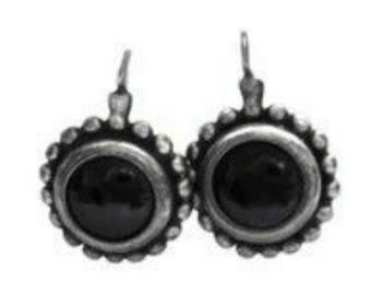 Sterling Silver Beaded Garnet Pierced Drop Earrings, Vintage Garnet Latch Hook Earrings