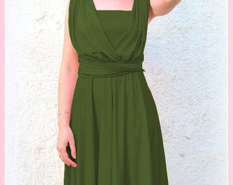 Infinity Dress knee length  in vineyard  greenery color Bridesmaid  dress with matching tube top