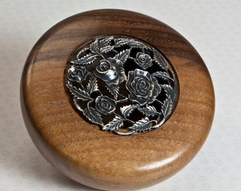 Potpourri, Trinket Bowl or Ornament Turned from American Walnut Wood with Rose Pattern Pewter Lid.