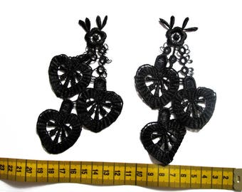 Set of 2 appliques flower/fruit Black Lace 14.7 cm X 8.2 cm