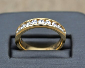 YELLOW GOLD wedding ring, ANNIVERSARY Gold  band , Diamond Gold Band
