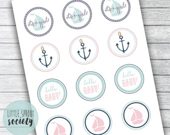Nautical Girl Baby Shower Cupcake Toppers