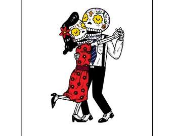 Dancing Calaveras Archival Art Print 8 x 10