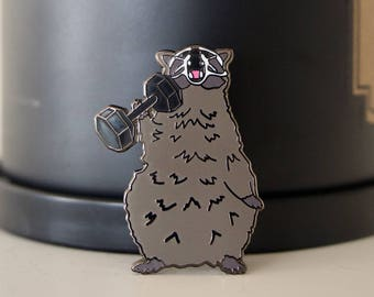 Fitness Trash Panda Raccoon Enamel Pin Racoon Enamel Pin Weightlifting Pin